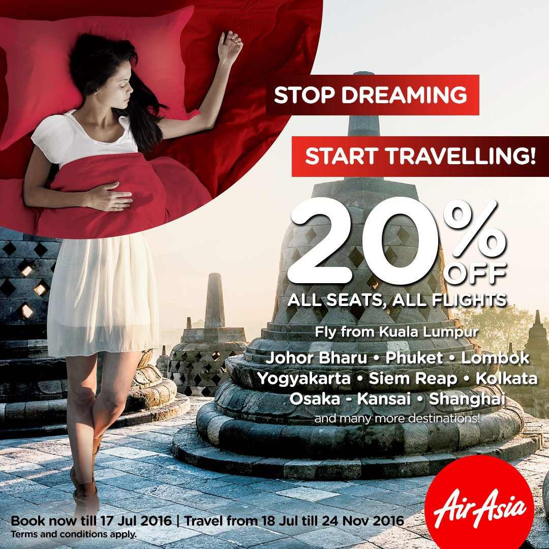 Usah bermimpi lagi, plan holiday awak dengan 20% OFF @