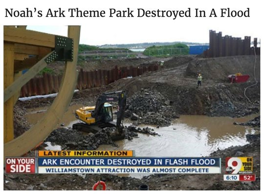 Headline of the day: Noah' Ark Theme Park Destroyed In A Flood https://t.co/Ww01aocooQ #irony https://t.co/QtWS14AV5A
