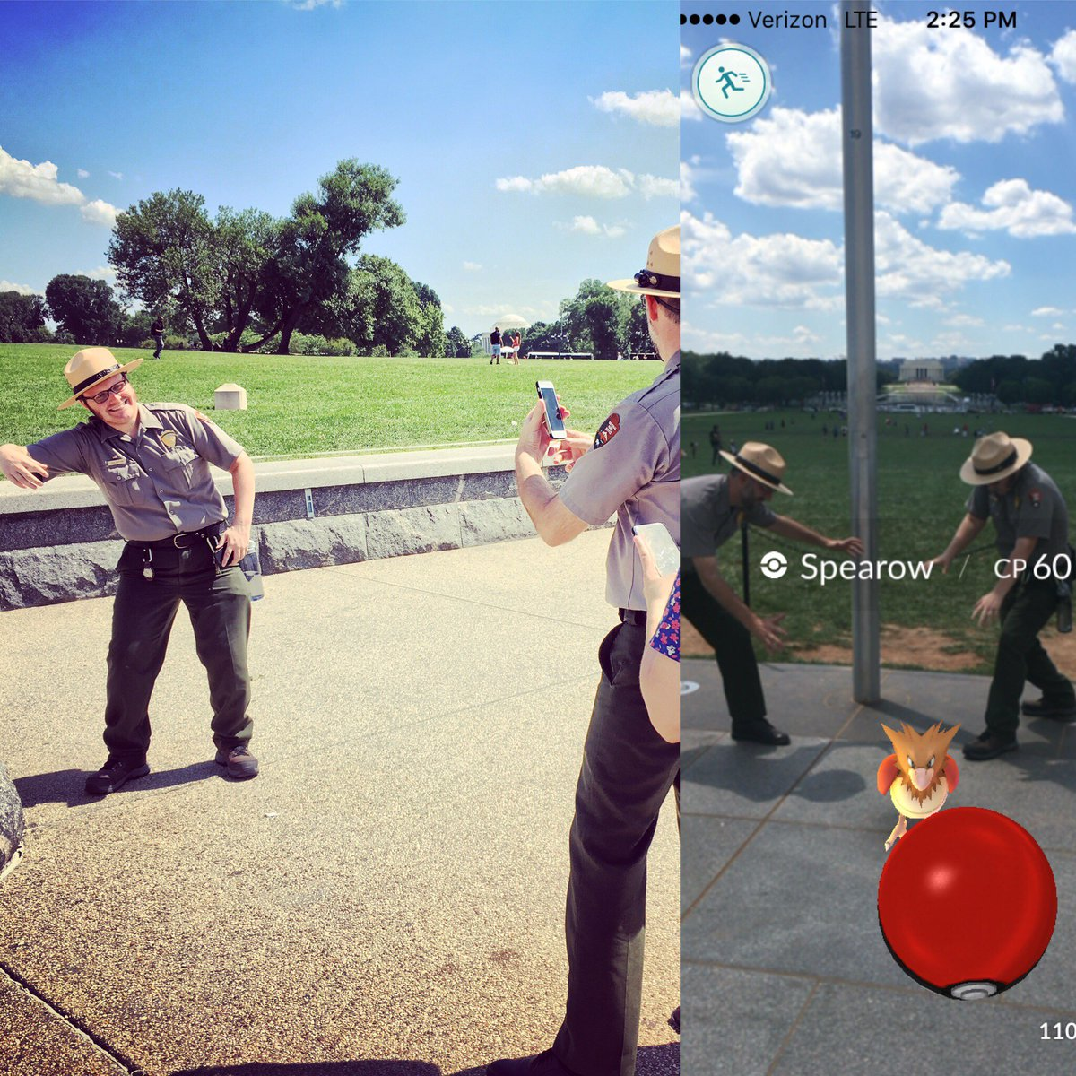 . @NationalMallNPS Park Rangers now welcome #PokemonGo tours. Follow them for details and outdoor fun  #innovategov https://t.co/jKHQlFgySo