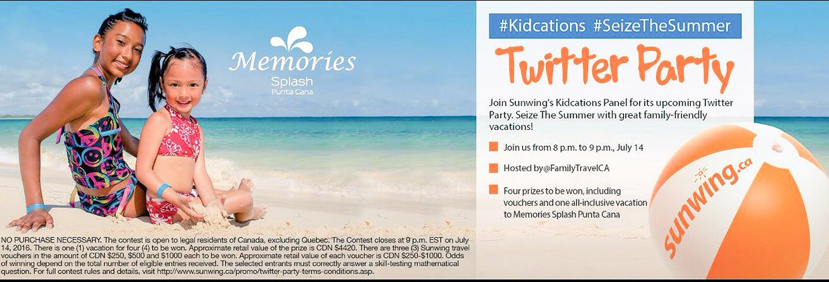 Twitter party alert! You could win a trip!! #Kidcations #SunwingMode #SeizeTheSummer July 14 at 5pm PT https://t.co/kOp7MDWbfA
