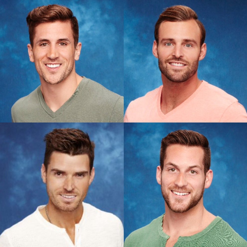 """Did the producers tell The Bachelors """"We have 3 Colors, 2 shirt styles & 1 haircut to choose from #TheBachelorette https://t.co/Wp82SccE3b"""