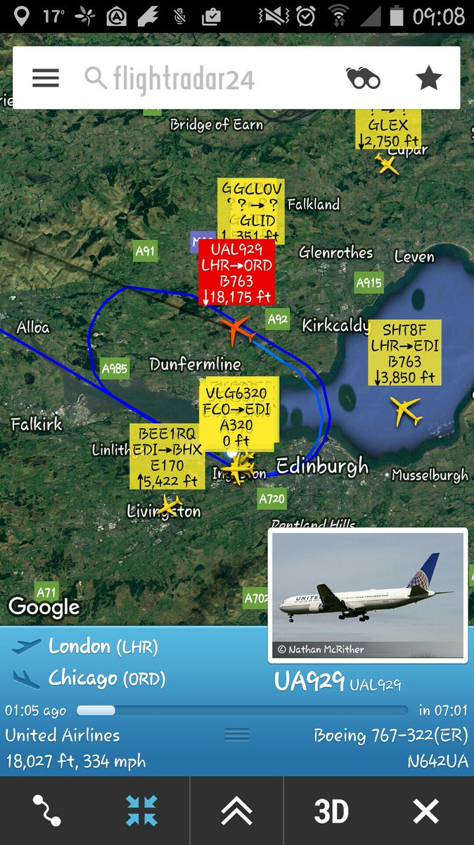 United Airlines #UA929 #squawk7700 over Edinburgh, Scotland. https://t.co/U2x4x0jCyz
