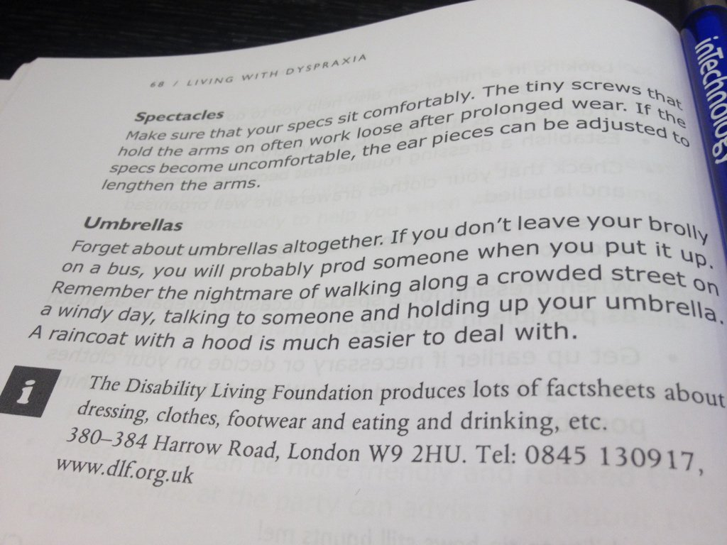 Love the honesty of this dyspraxia book about umbrellas https://t.co/OENQza6xK7