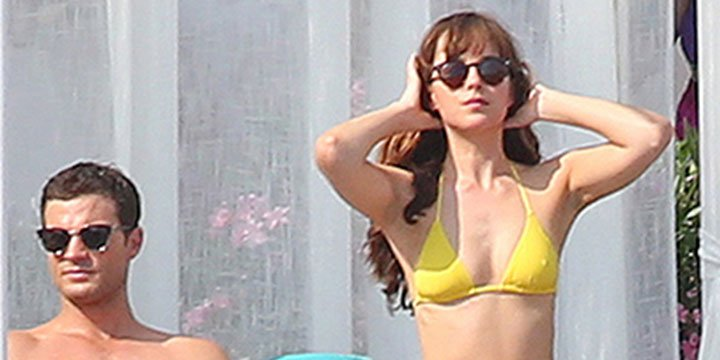 Jamie Dornan and Dakota Johnson hit the beach while filming Fifty Shades Freed