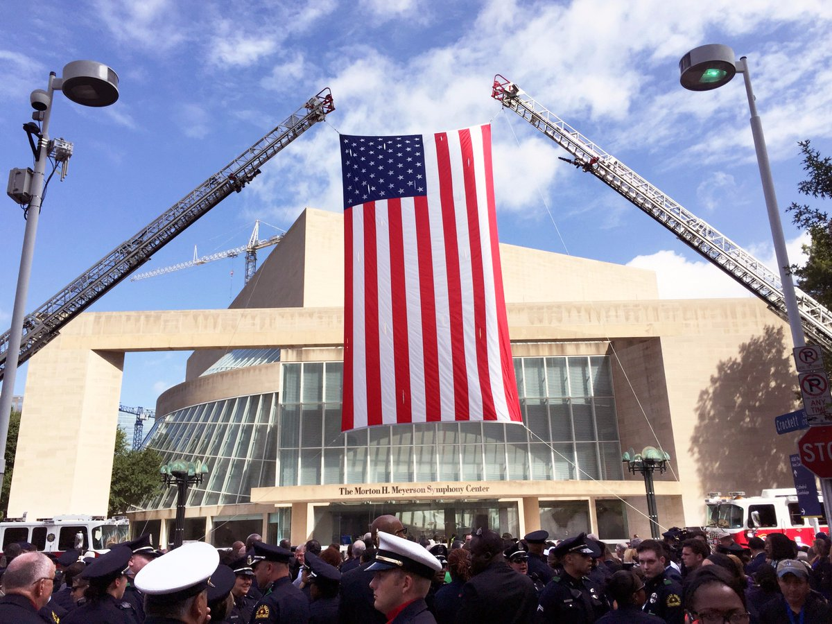 US flag raised by @DallasFireRes_q at Interfaith Memorial Service for fallen @DallasPD & #DARTPD. #DallasStrong https://t.co/Cn3RzGptge