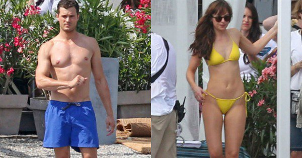 Dakota Johnson and Jamie Dornan rock their beach bodies while filming