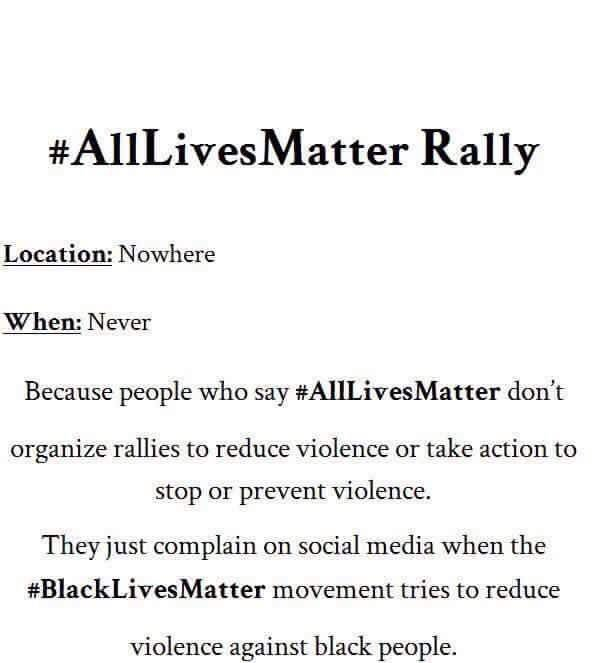 Just announced, #AllLivesMatter rally, please share the flier https://t.co/uP147NfxXM