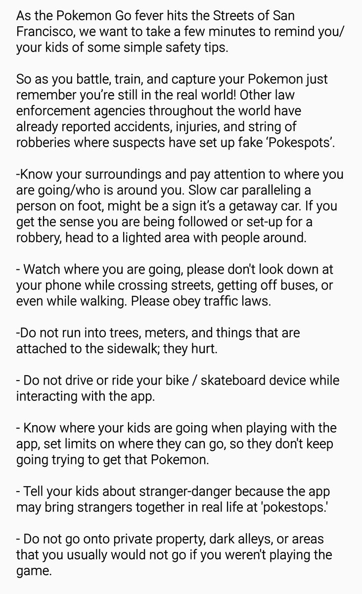 #SFPD #PokemonGO Safety Tips: https://t.co/ylhngupQPO