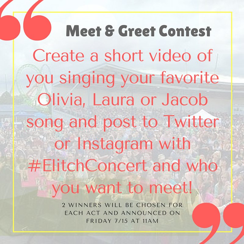Want to win a meet & greet for Saturday's concert? Share your video and tag us and #ElitchSings! Directions below. https://t.co/ig4G1nEt8s