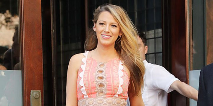 Pregnant Blake Lively steps out wearing fitted coral dress – complete with cut-outs