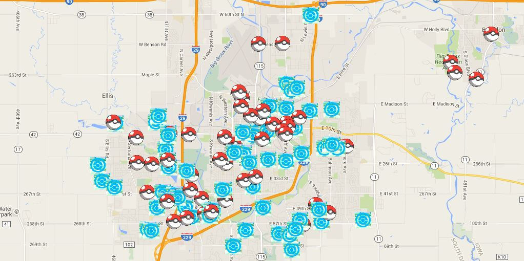 We have more than 160 pokestops and gyms on our map of sioux falls