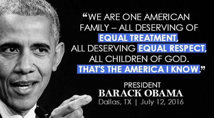 Reminder that through the turmoil, we are one family. Powerful words from @POTUS at #DallasMemorial. #DisarmHate https://t.co/WS36btwVwk