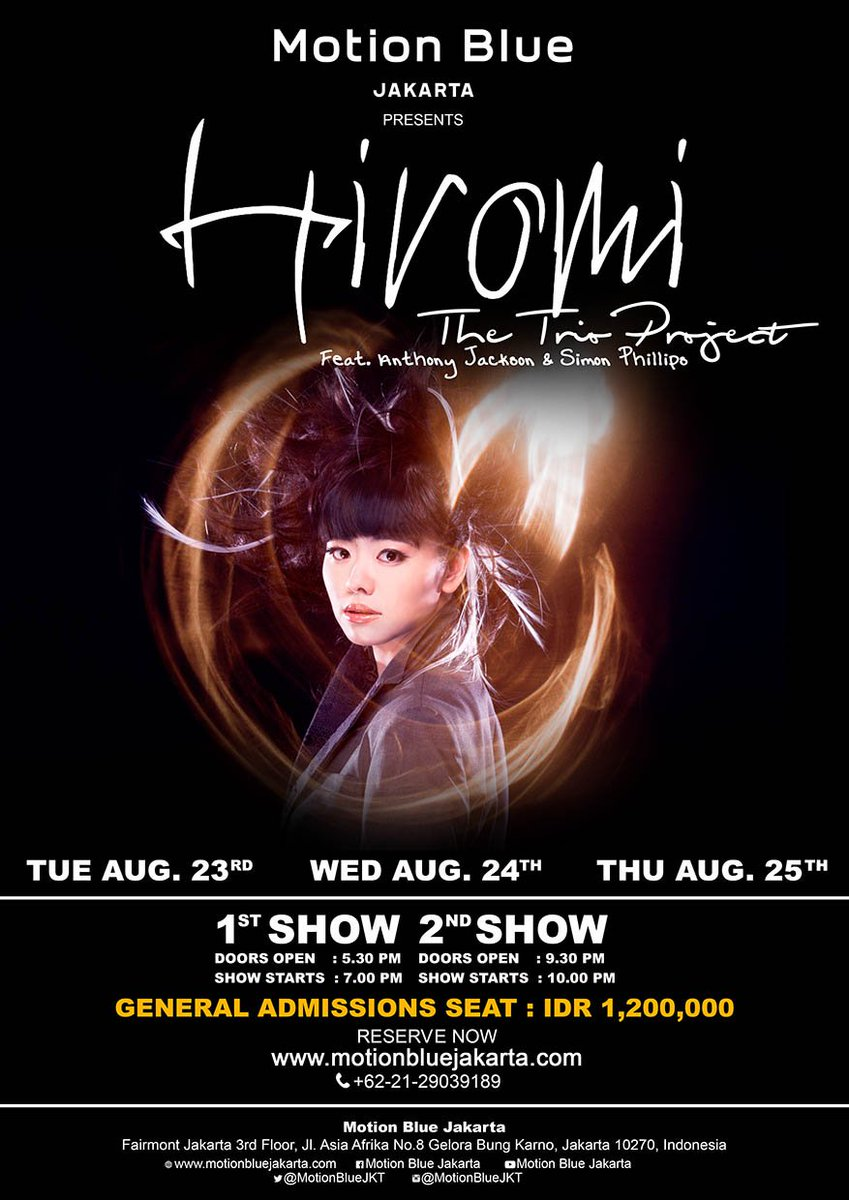 Watch Hiromi The Trio Project Live at Motion Blue Jakarta on August 23, 24, & 25. Tickets https://t.co/4mtbCeSvva https://t.co/swopvb3ECw