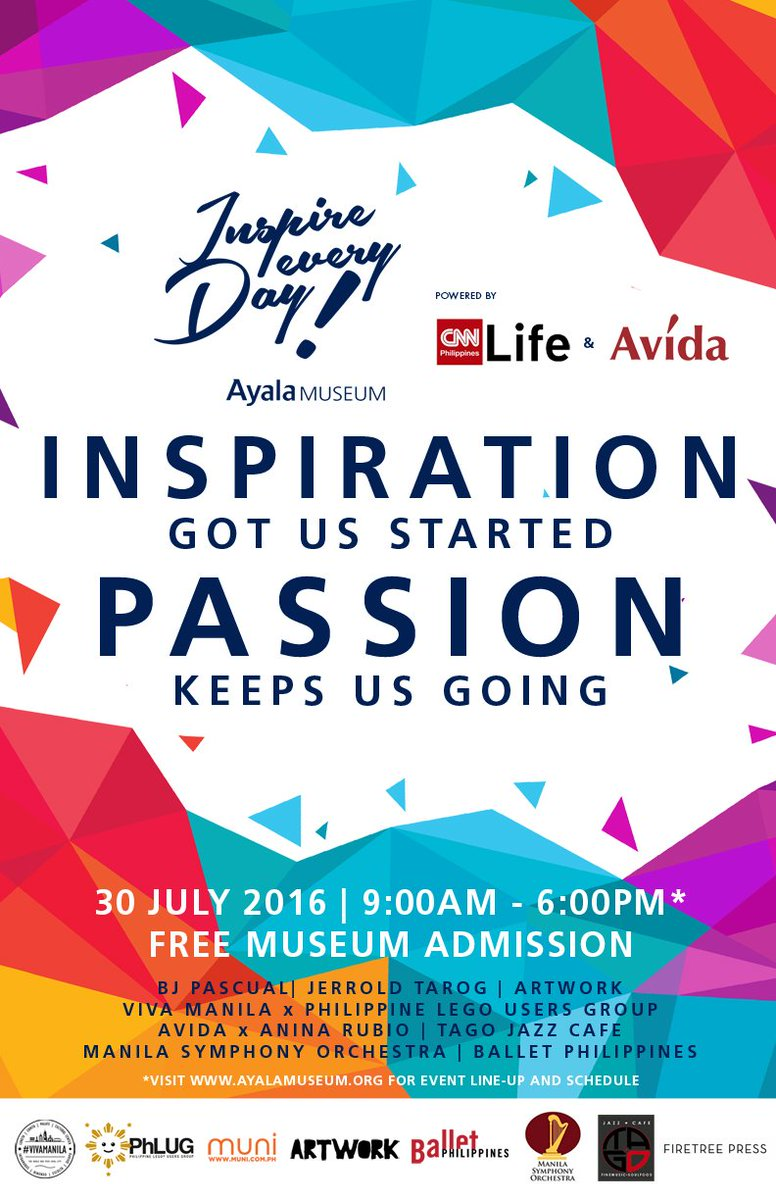 #InspireEveryDay this July 30! FREE ADMISSION at the Ayala Museum powered by CNN Philippines Life & Avida Land https://t.co/r0F4b7tZzC