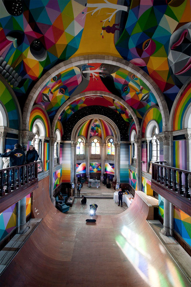 Transforming a 100-year-old church into a rainbow skatepark https://t.co/Z9XrA96WPo @OKUDART https://t.co/5qkpdy2U4b