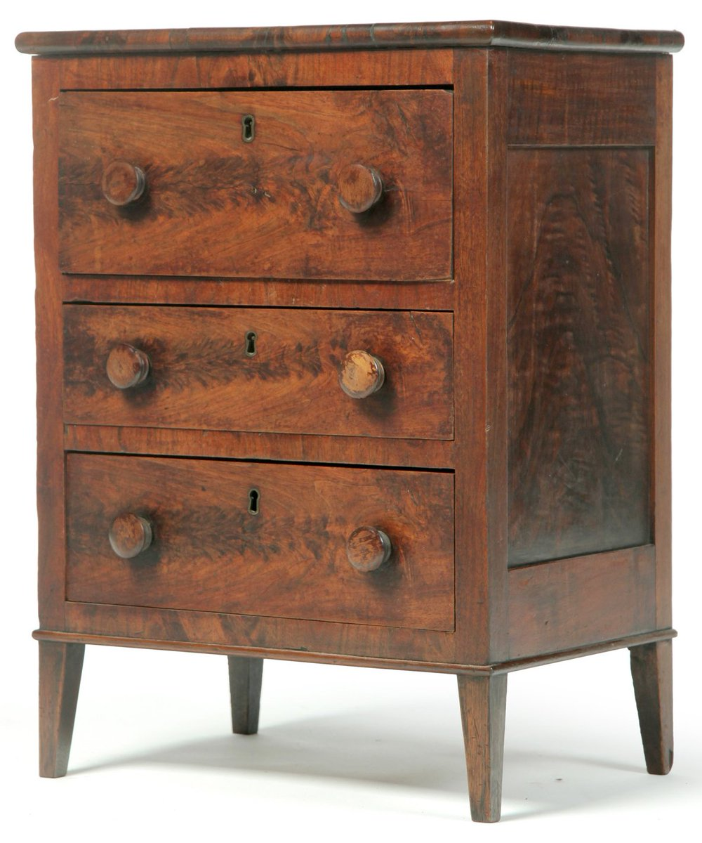 "Mini 19th-C chest of drawers, pine & flame-grain mahogany veneer, 24"" x 18"", $4080 https://t.co/qjVxDc9IOA #antiques https://t.co/0xLgD9KfoI"