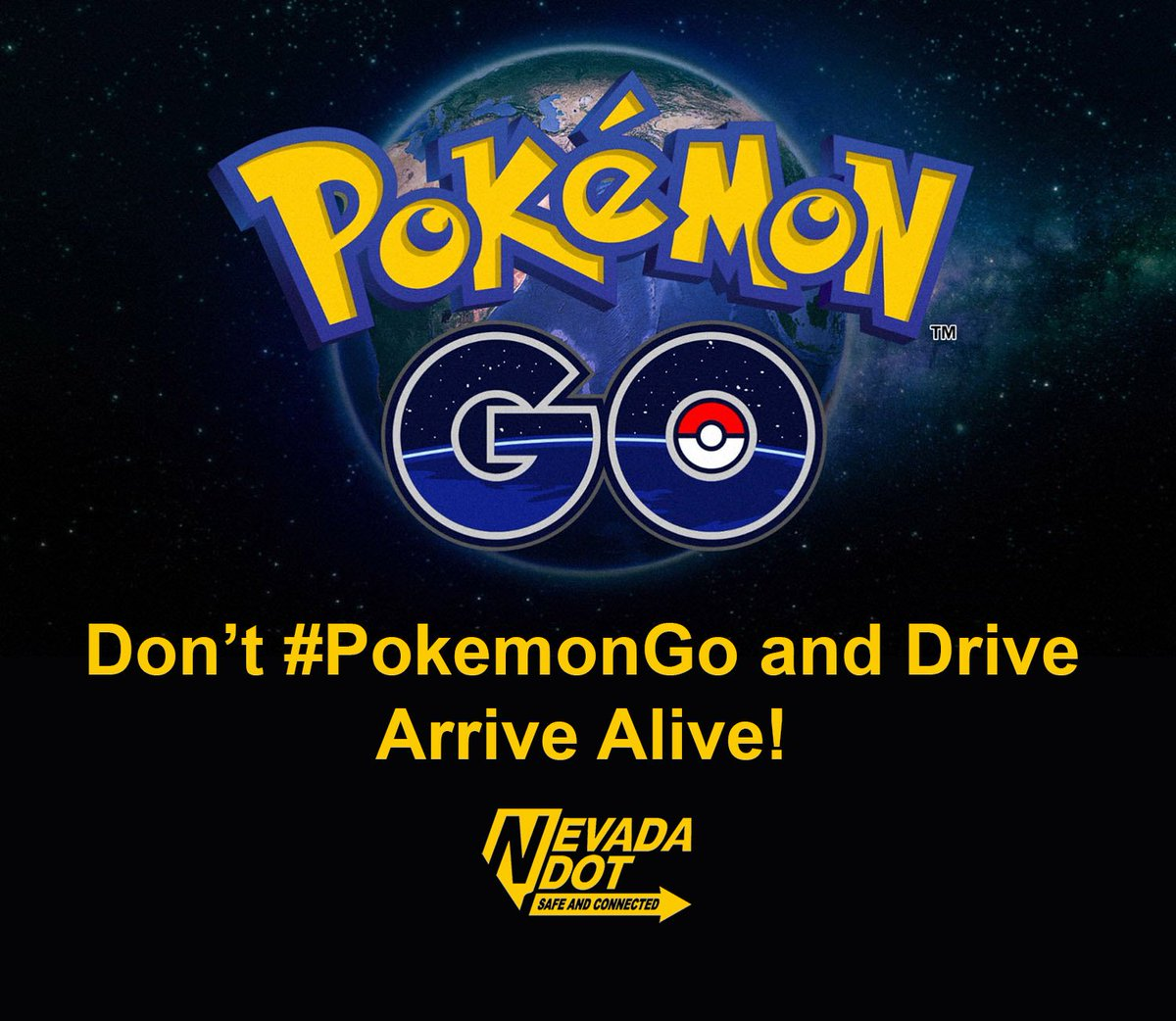 Don't #PokemonGo and Drive. Arrive Alive. @DriveSafeNV @StayingUndead @NevadaDPS @AAA_Nevada @RTCSNV @RTCWashoe https://t.co/qH7wsLhm8E