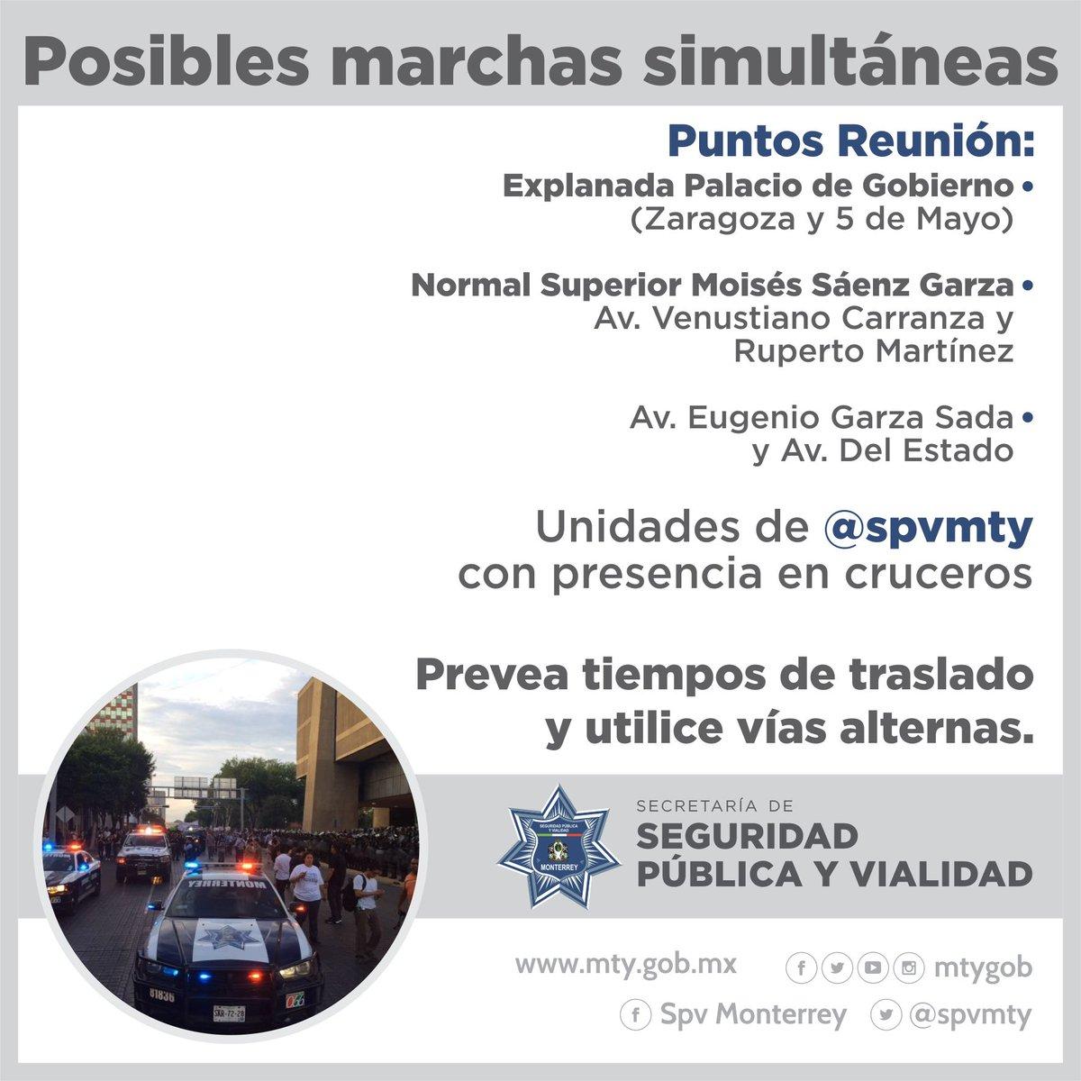 #VialidadMTY *Posibles marchas simultáneas* Precaución al conducir. Utilice vías alternas. @spvmty dando vialidad. https://t.co/EEnEJXIcNI