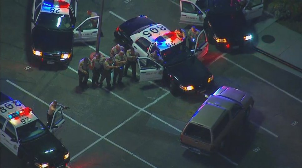 live suspect pulls into bicycle casino parking lot in bell