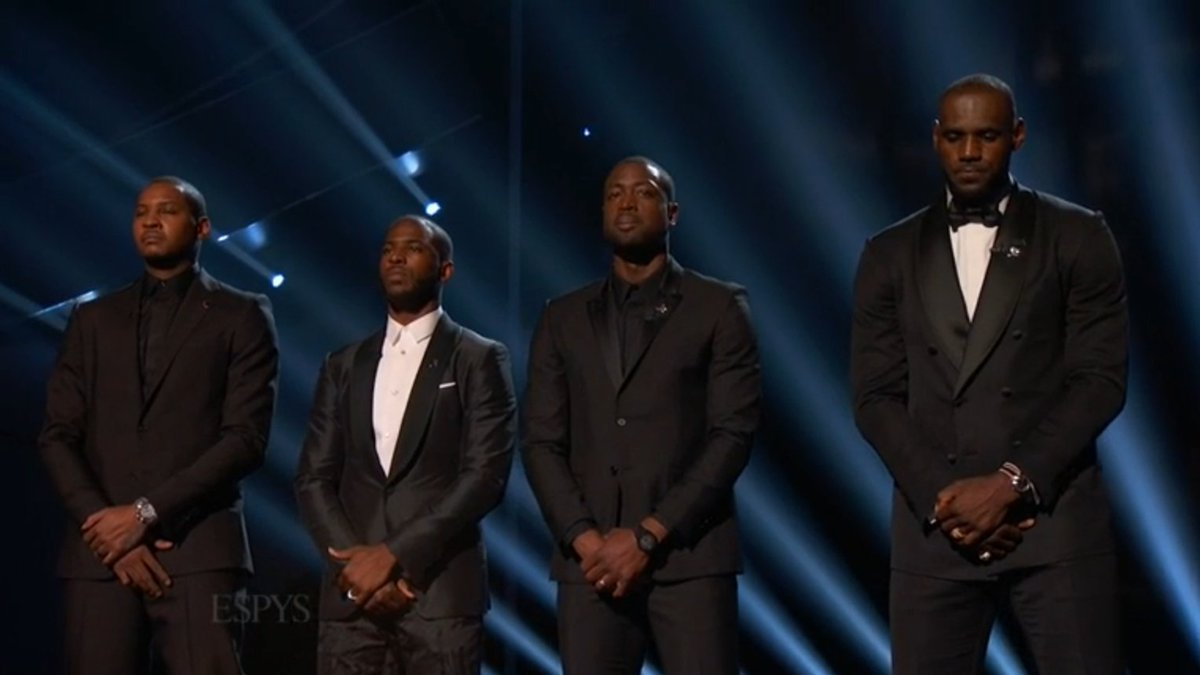 """""""Enough is enough.""""  Powerful message from LeBron James, Dwyane Wade, Chris Paul and Carmelo Anthony. #ESPYS https://t.co/i1sTZTi8ny"""