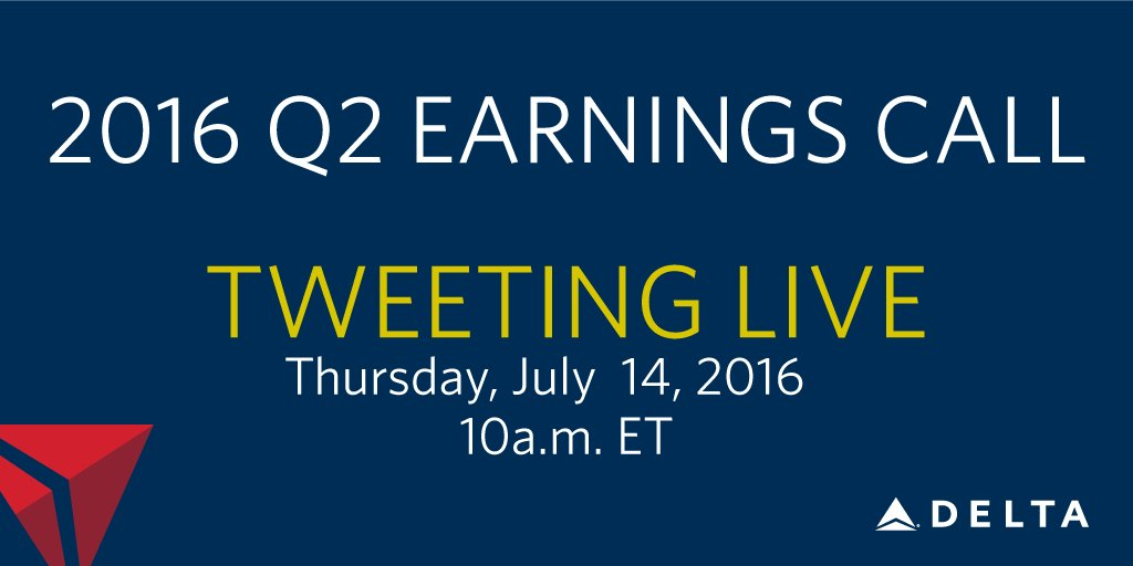 .@Delta earnings call starts at 10 a.m. Listen to the webcast at