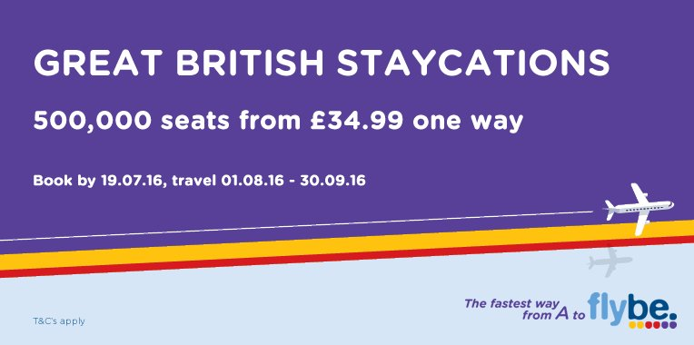 Take a Great British Stay-cation with @flybe! Fares from £34.99 one way