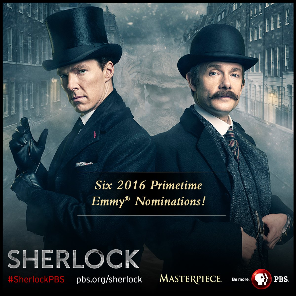 Congrats #SherlockPBS on SIX 2016 #Emmys noms, incl. Outstanding Lead Actor #BenedictCumberbatch & TV movie! https://t.co/QZNVDTemhw
