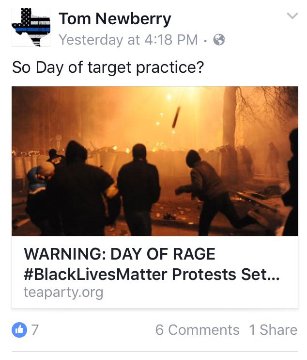 .@WLPDNews looking into Officer Tom Newberry's personal Facebook posts regarding #DayOfRage & recent protests https://t.co/aSS49vo2s0