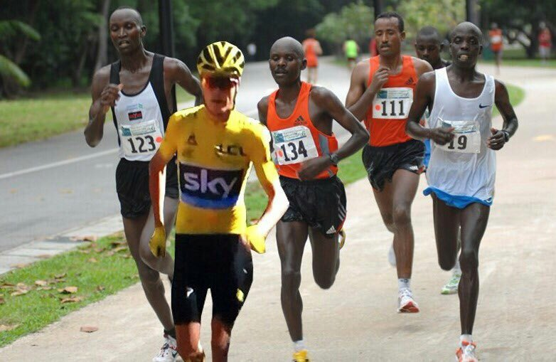 """""""@Thebicyclecoach  2h @inrng @chrisfroome he sure learns from the best #Kenyan #runner #tdf  #TDF2016  #froome https://t.co/KXg7copztW"""""""