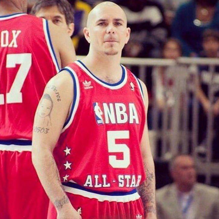 #TBT they let chico suit up for the @NBA feeling at home on the hardwood #NBA #MrWorldwide https://t.co/oFSuZCd4Il
