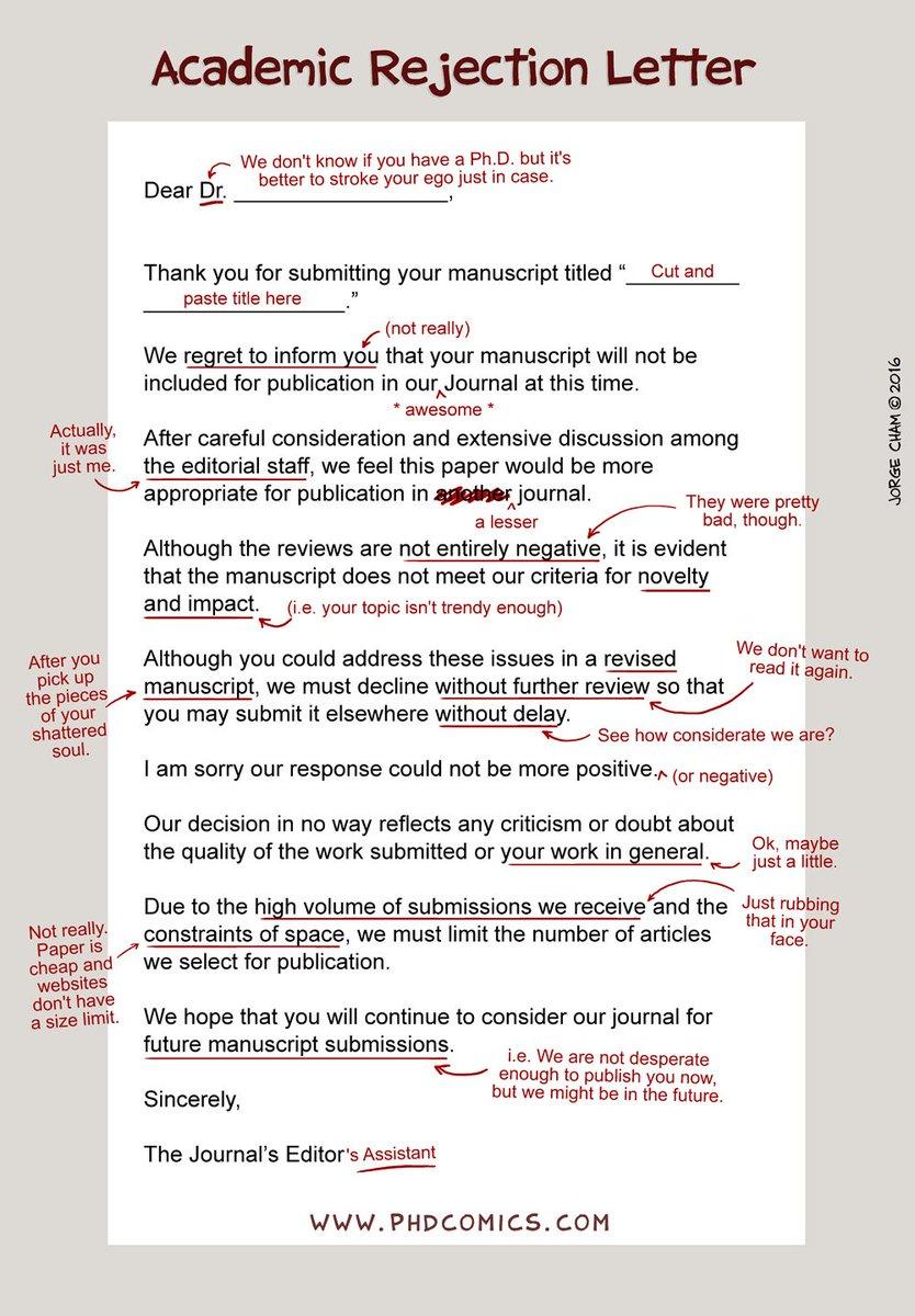 An Honest Academic Rejection Letter https://t.co/SK9nLXYm7U https://t.co/tFj5SYsWGo