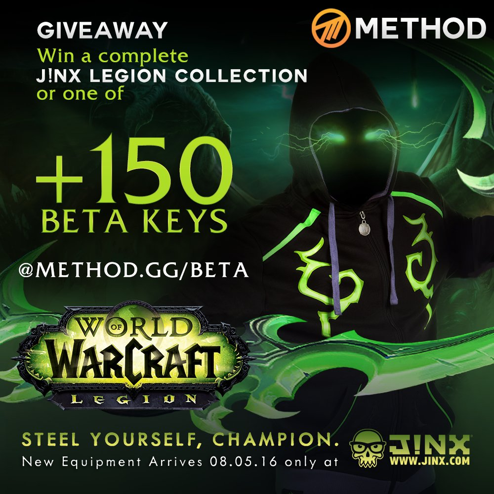 Win Legion Beta keys and the entire J!NX Legion collection from @Methodgg! RT & Enter: https://t.co/dLHiTiTV3i https://t.co/1f3SjFy1lN