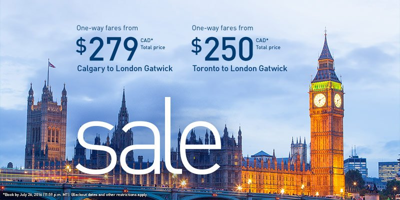 London sale. Book by 7/26/16 (2359 MT). Travel from 9/6/16 - 12/14/16. Restrictions apply.