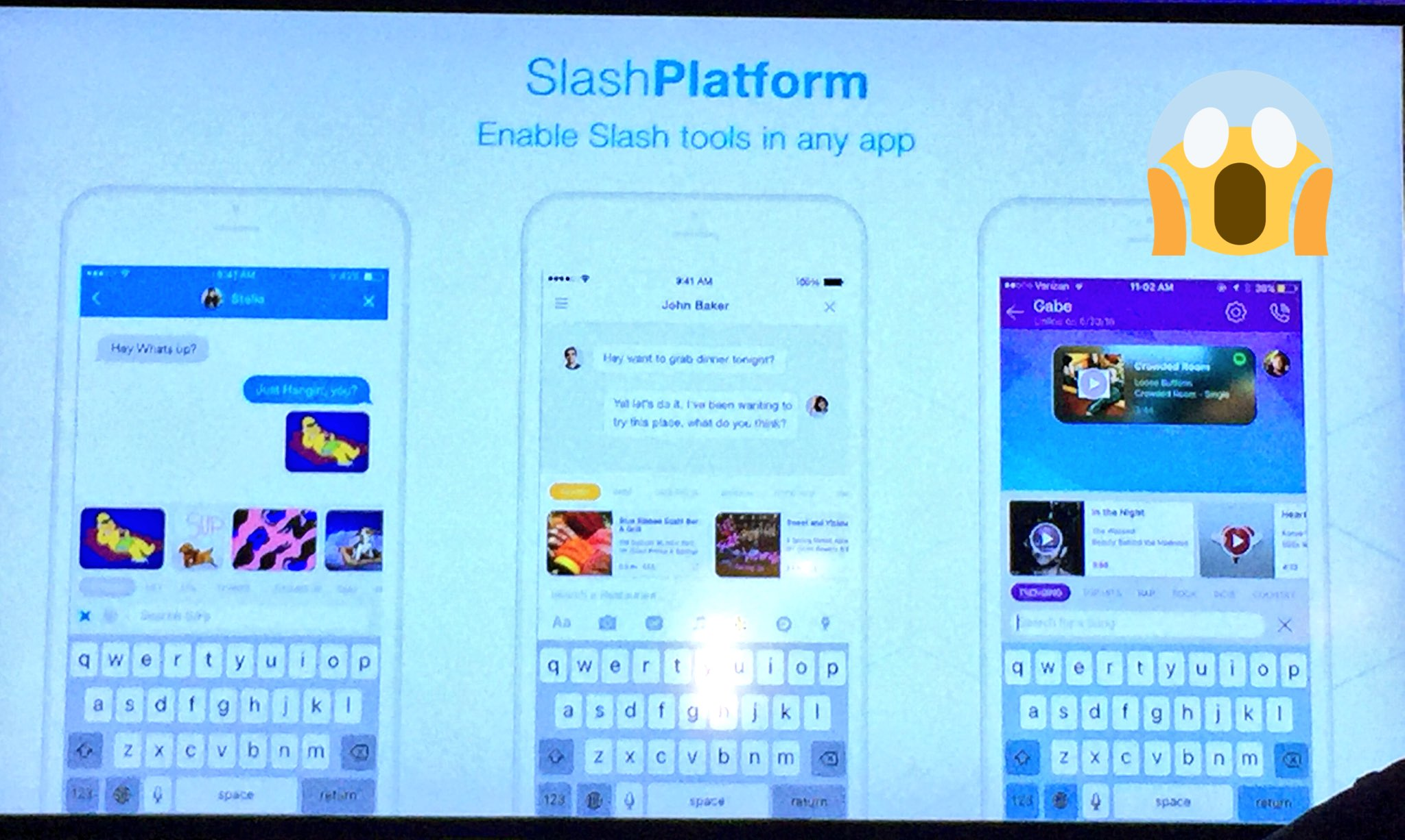 .@slashkeyboard announces slash platform that allows any app to build tools into the keyboard. Cool! #AppFronts https://t.co/eNnOXWaxGl