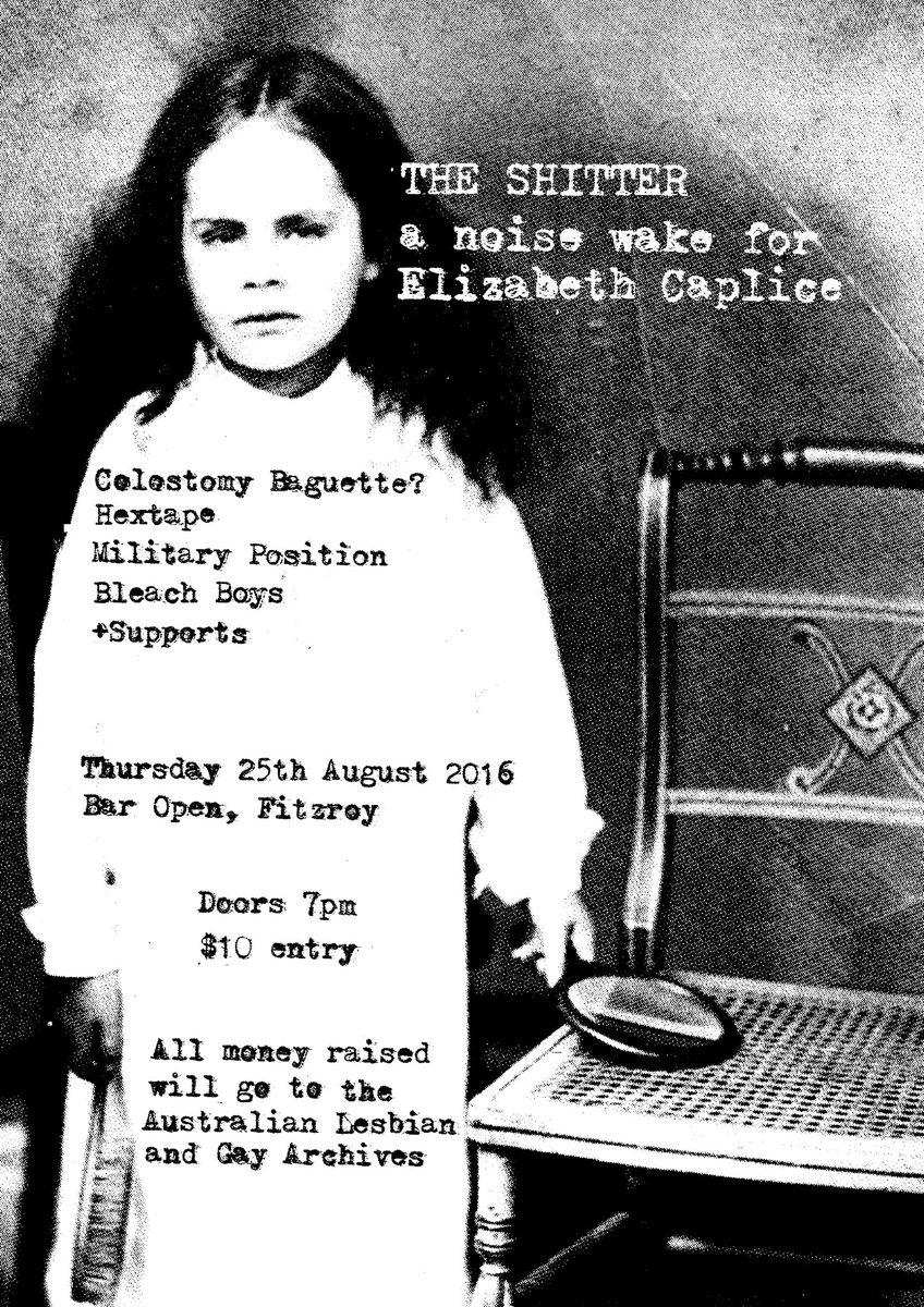 A 'noise wake' for Elizabeth Caplice (@hrasvelgveritas) takes place in Melbourne next month: https://t.co/g2B1nZ717d https://t.co/Cr3nl2IPQG