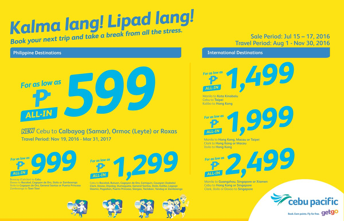 Take a break from all the stress with the new CEBSeatSale! Book now!