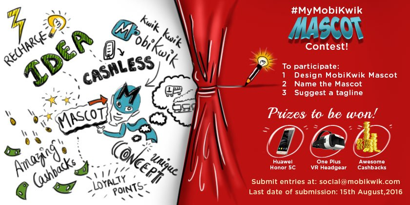 #ContestAlert Show your inner talent & join #MyMobiKwik Mascot Contest. Win exciting prizes! https://t.co/gzQqw6sEYj https://t.co/DQqpNtD5Ft