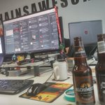 Friday afternoon beers. One more reason to love @ChainsawGames https://t.co/LFnqUjdY7V