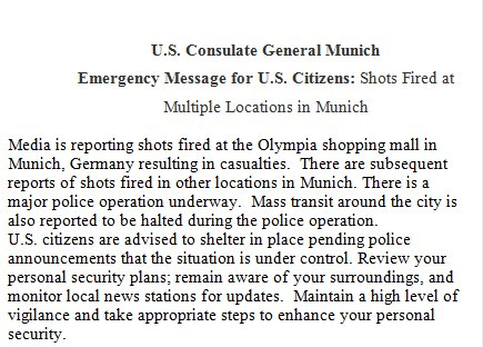 US citizens in #Munich advised to shelter in place. Media reports of shots fired at Olympia shopping mall: https://t.co/DWRw6CGa7q