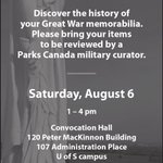 Great War Antiques roadshow, Saturday August 6, 1-4 pm, Convocation Hall, College Bldg, University of Saskatchewan https://t.co/YOnRoZaNDA