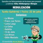 #Nebulización 7-30 de la noche en 8 Colonias de #Tuxtla ¡Ubica la tuya y abre puertas y ventanas! @VelascoM_ #MVC https://t.co/5e7HsA9uNK