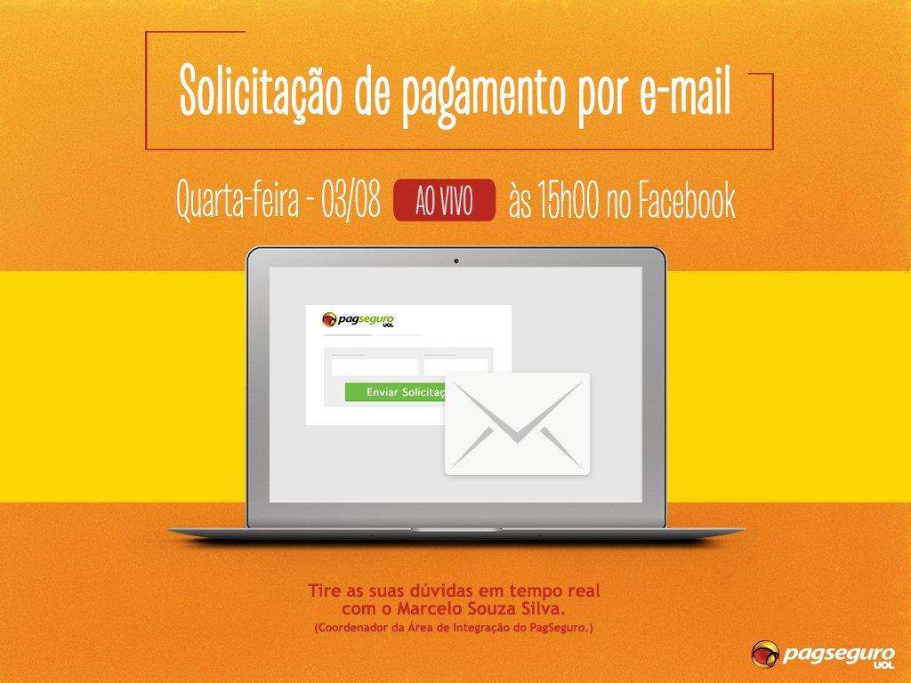 Dia 03/08, às 15h, faremos uma transmissão ao vivo no Facebook sobre Solicitação de pagamento por e-mail. Não perca! https://t.co/2bQyif5ap5