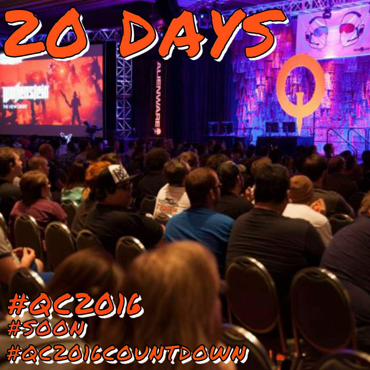 20 DAYS TILL @QuakeCon ! Who ready!? #SOON #qc2016 #quakecon #partycentral @BAWLSGuarana @bethesda @idSoftware https://t.co/i6zGxpMnsG