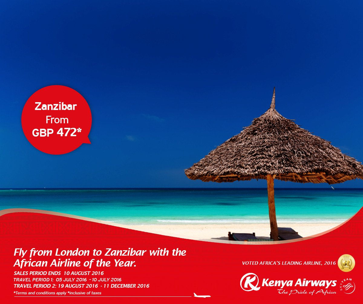 Fly from London to Zanzibar with the African Airline of the year from GBP 472*.