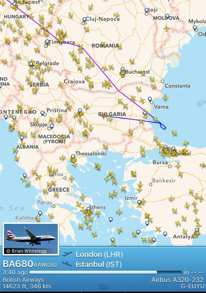 British Airways, Heathrow - Istanbul flight has turned around over the Black Sea https://t.co/h8IHRVDumT