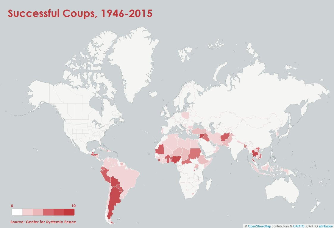 I made a map of successful coups around the world, 1946-2015. three ...