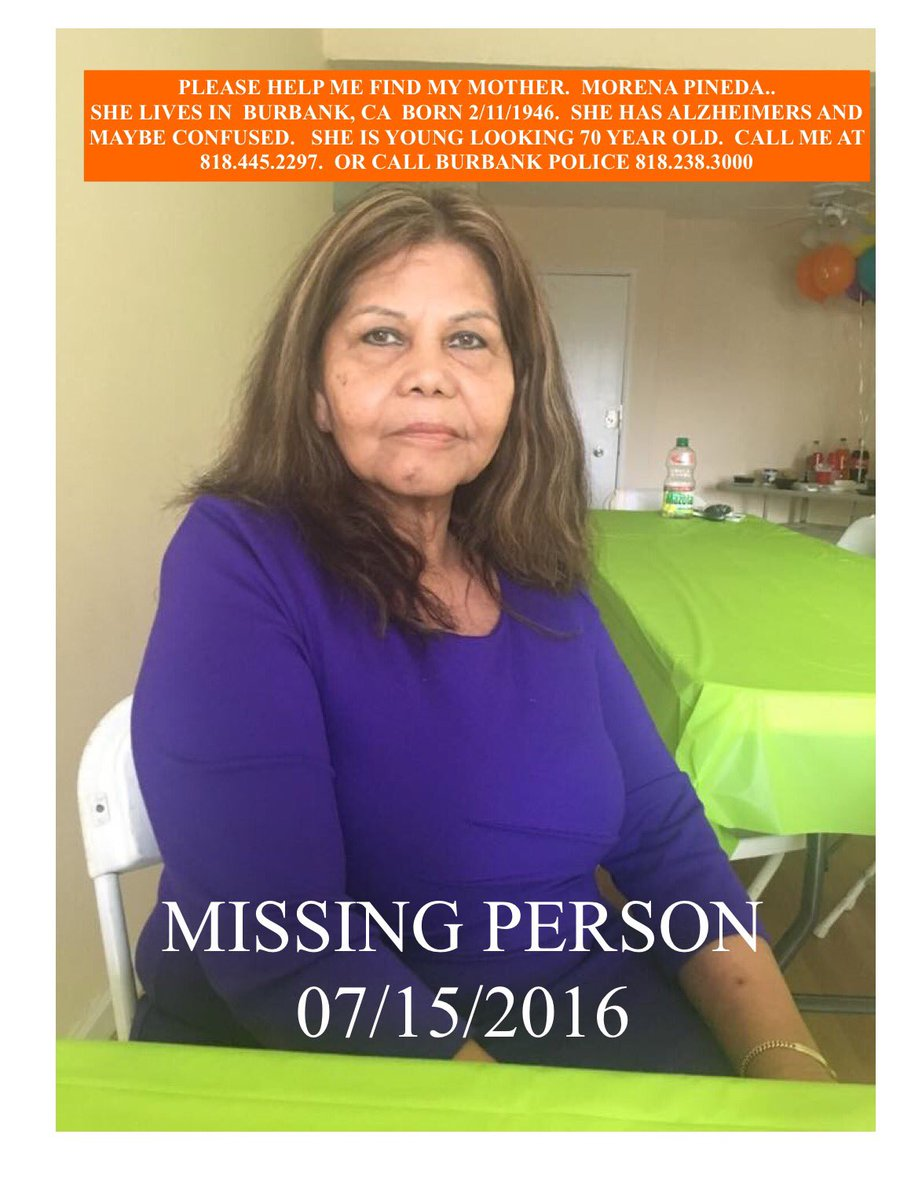Please help me find my grandma. She went missing last night in Burbank. https://t.co/cUVR428il0