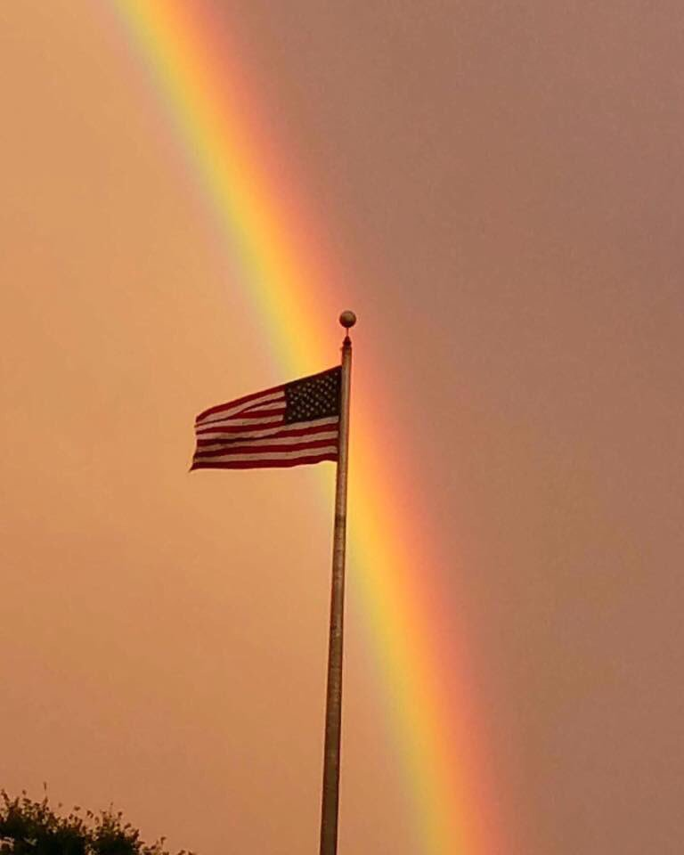 Pretty perfect picture from Parkville. Thx Kelly Kelinota. #rainbow #flag #storm #maryland