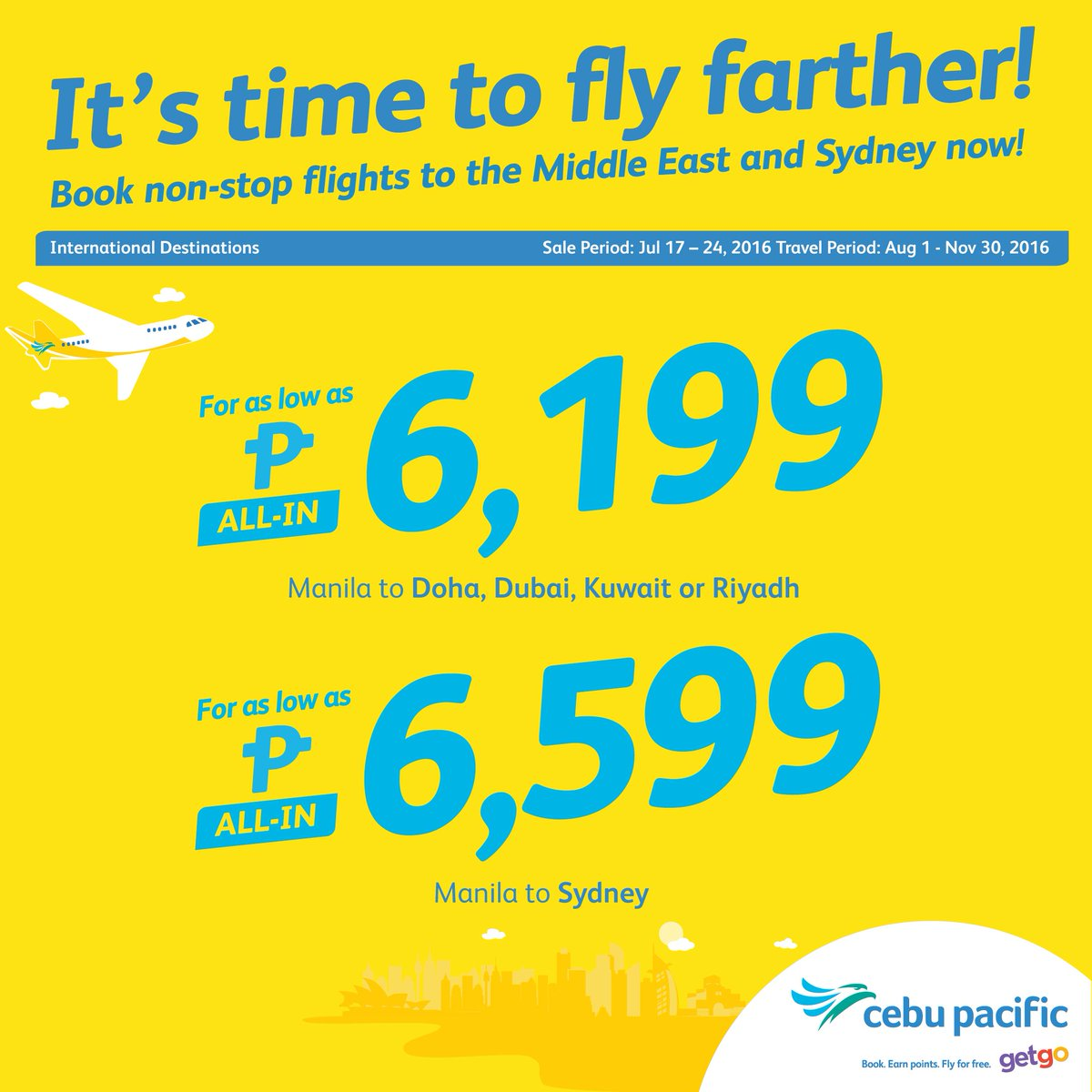 Fly farther to Australia and the Middle East with this CEBSeatSale! Book now until July 24.