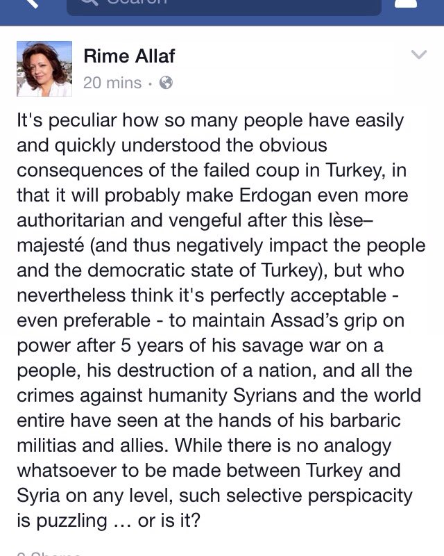 Why do so many know failed #Turkey coup makes Erdogan more authoritarian but think Assad staying best for #Syria? https://t.co/5vCNoKUiR5
